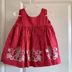 Pink embroidered dress with bloomers